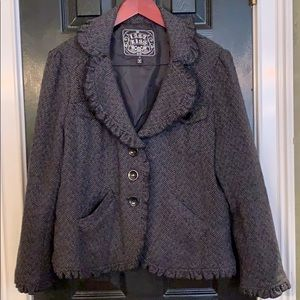 Last Kiss herringbone black coat size 2X
